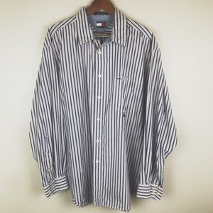 TOMMY JEANS Button Down Casual Dress Shirt Stripes